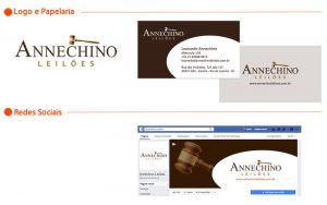 Logo, cartão visita e fanpage Annechino Leiloes